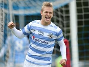 FODBOLD: Martin Koch (FC Helsingør) jubler efter sin scoring til 1-0 under kampen i 2. Division Øst mellem FC Helsingør og Gentofte-Vangede IF den 7. september 2014 på Helsingør Stadion. Foto: Claus Birch