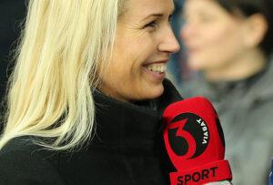 Cheftræner Ståle Solbakken (FC København) interviewes af TV3's Tina Müller inden kampen.