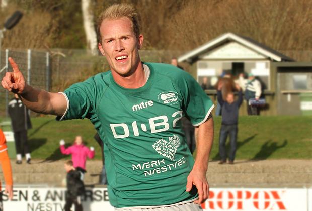 Mikkel Rygaard (Næstved) har scoret til 2-0.