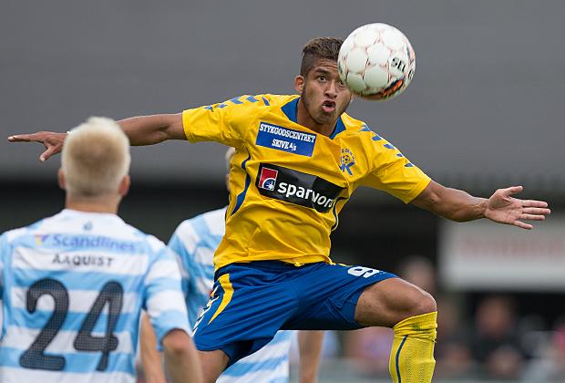 FODBOLD: Thiago Pinto Borges (Skive) under kampen i Bet25 Ligaen mellem FC Helsingør og Skive IK den 23. august 2015 på Helsingør Stadion. Foto: Claus Birch